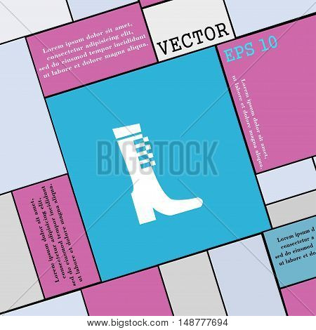 Female Fall And Winter Shoe, Boot Icon Sign. Modern Flat Style For Your Design. Vector