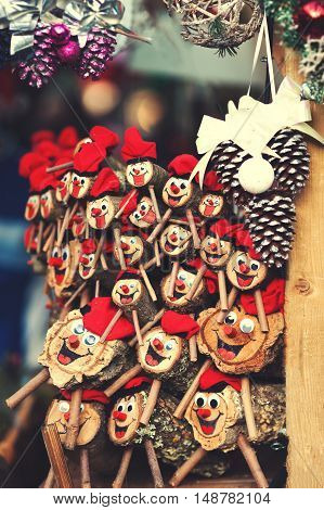 Christmas decorations on the market in Europe - a Tio de Nadal a traditional Christmas symbol of Catalonia Spain