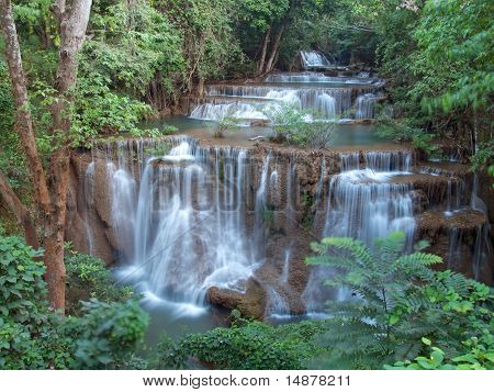 Fourth level of Huay Mae Kamin Waterfall Khuean Srinagarindra National Park Kanchanaburi Thailand poster