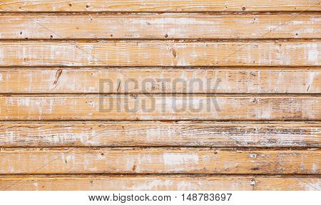 Old Wooden Wall With Peeling Yellow Paint Layer