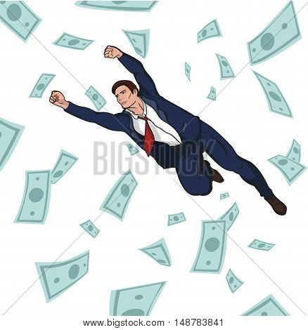Young successful businessman. Career. Profit. Income. Coins and bills falling from the sky. flying businessman. 10 EPS