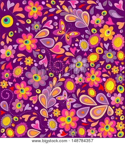 Hippie wallpaper with funny flowers print and butterflies