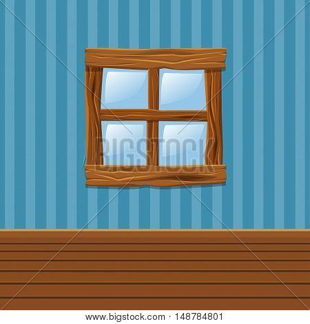 Cartoon Wooden old window, Home Interior in vector