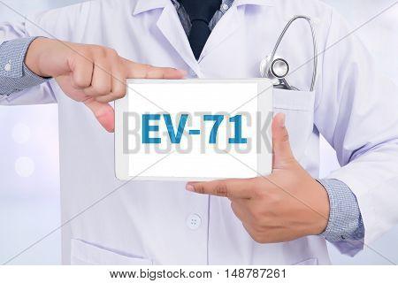 EV-71 Doctor holding digital tablet doctor work touch