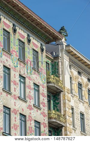 Architecture Otto Wagner house at Wienzeile 38 in Vienna with decoration from Koloman Moser