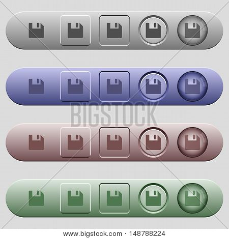 Save icons on rounded horizontal menu bars in different colors and button styles