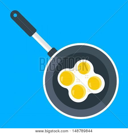 Vector frying pan and fried eggs. Creative flat illustration