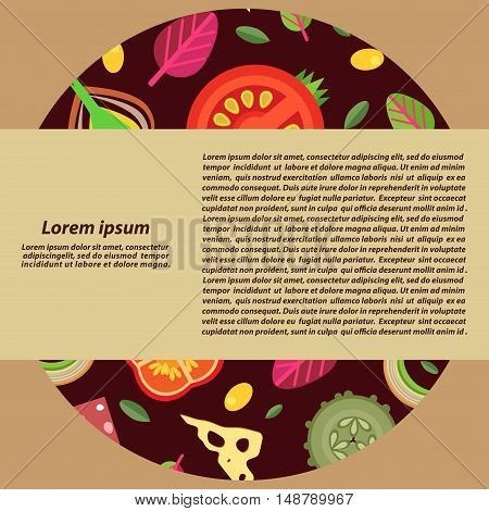 Vector background with a stuffing for pizza. Flat style. In the middle of a wide strike for text