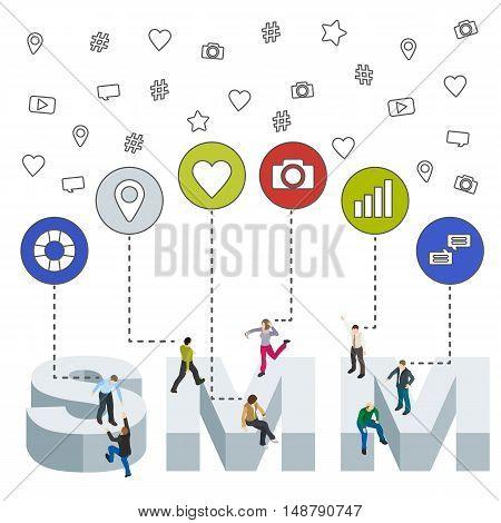 Social media web banner. Social media marketing 3d isometric concept. Isometric People. Flat social icons. SMM vector illustration.