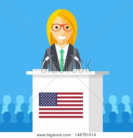 Woman giving speech at rostrum with american flag. Female character, white podium tribune, american flag. President speech, election debates, presidential campaign concepts. Flat vector illustration