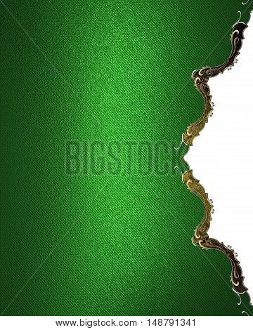 Green Background With Gold Ornaments. Template For Design. Copy Space For Ad Brochure Or Announcemen