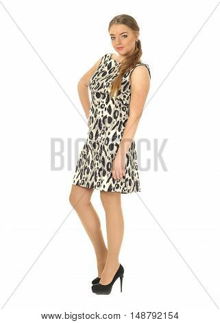Studio Shot Of A Large Woman In Leopard Dress Isolated