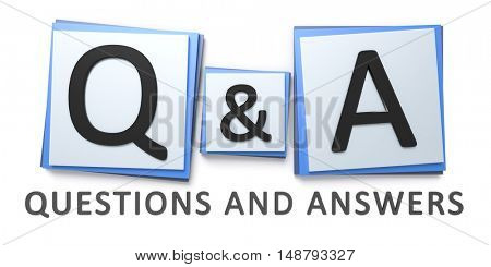 3d rendering of a questions and answers sign