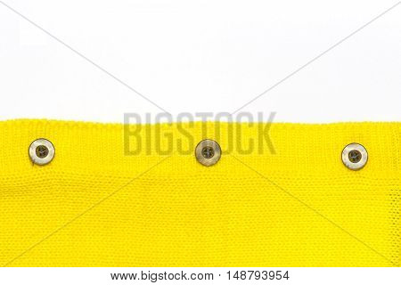 Buttons on the yellow jersey And a white background