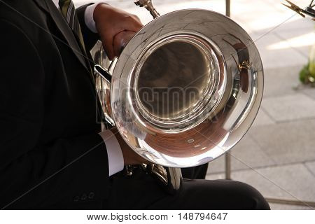 Tenor Horn Player at an open air Concert in Germany