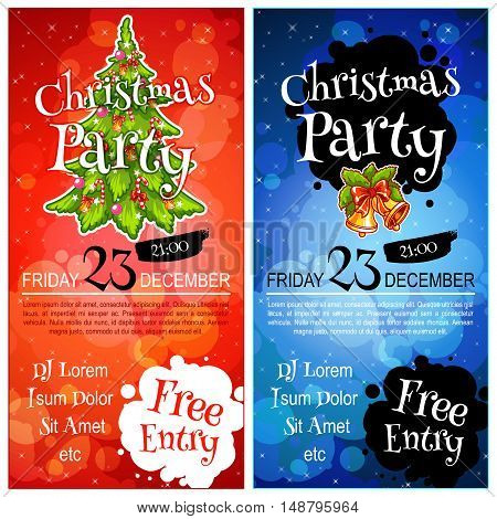 Two vertical orientation flyers for Christmas party. Vector template invitation in dark tones