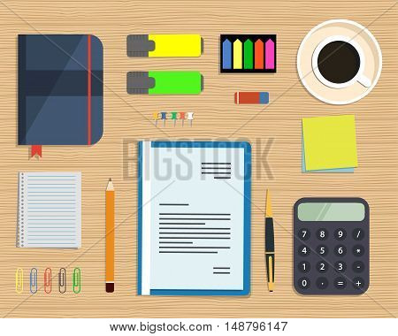 Top view of a desk background. There is a calculator, blue folder, stationery, documents and cup of coffee on a wooden background. Flat design vector illustration