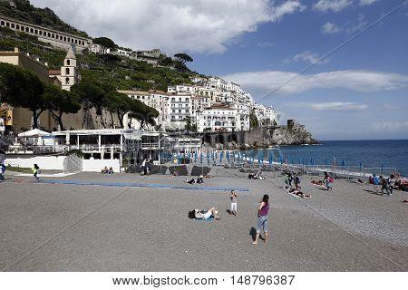 AMALFI ITALY - MAY 22 2016 - view of amalfi city in italy