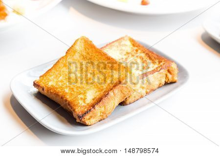 Simple delicious French toast bread breakfast on table