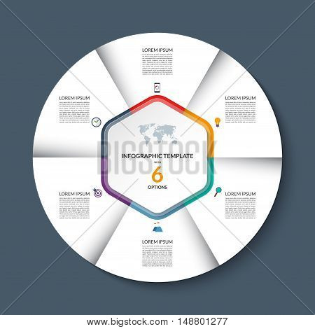 Vector infographic circle template. White round banner with 6 steps or options. Business concept with the set of marketing icons and design elements. Can be used for cycle diagram, pie chart, graph