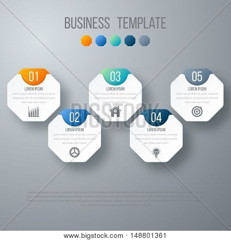Vector illustration infographics five options. Stock vector