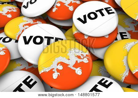 Bhutan Elections Concept - Bhutanese Flag And Vote Badges 3D Illustration