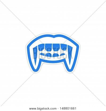 Sticker vampire bright smile on white background