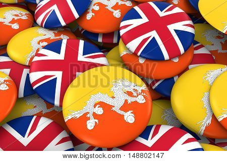 Bhutan And Uk Badges Background - Pile Of Bhutanese And British Flag Buttons 3D Illustration
