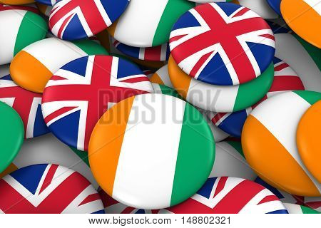 Cote D'ivoire And Uk Badges Background - Pile Of Ivorian And British Flag Buttons 3D Illustration