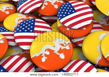 Usa And Bhutan Badges Background - Pile Of American And Bhutanese Flag Buttons 3D Illustration