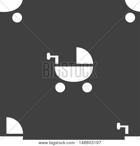 Baby Stroller Icon Sign. Seamless Pattern On A Gray Background. Vector