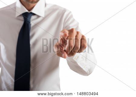 Businessman pointing a finger as if to touch the screen