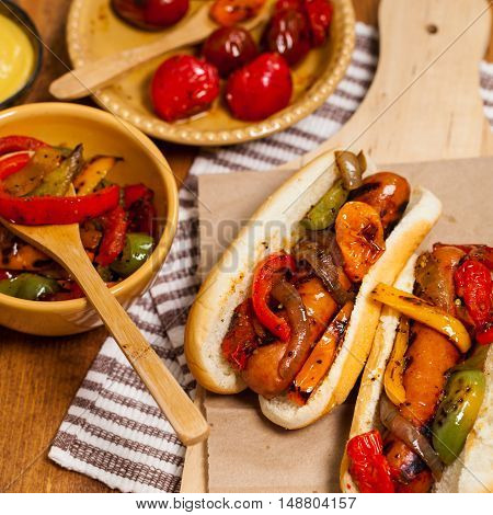 Fajita Style Hot Dogs with Roasted Veggies Dinner. Selective focus.