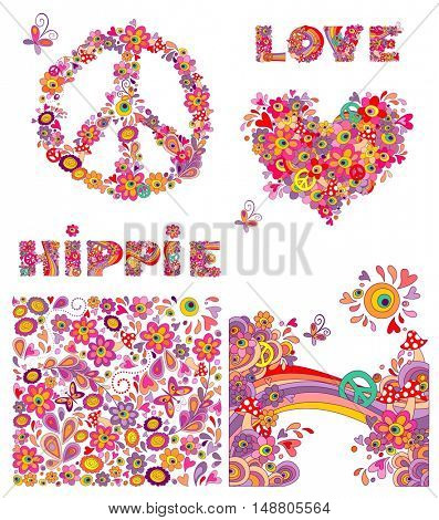 Set for hippie wallpaper with funny butterflies, colorful flowers and mushrooms, peace flowers symbol, heart shape