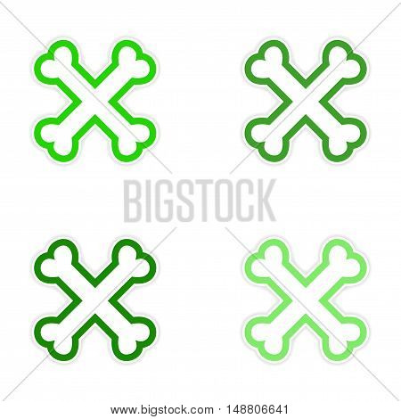 assembly sticker cross bones stacked on a white background