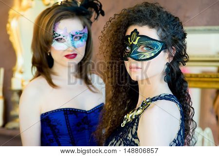 Two Girl With A Masquerade Mask