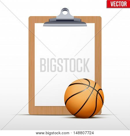 Coaching blank clipboard and basketball ball. Editable Vector illustration Isolated on white background.