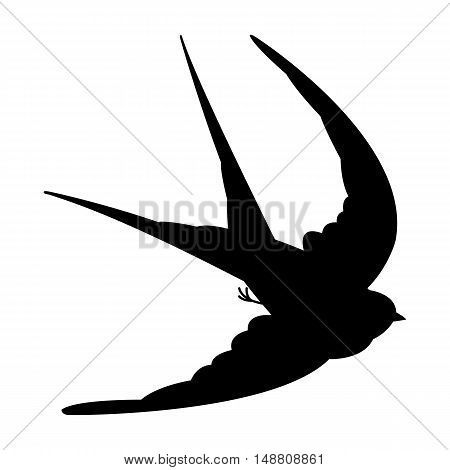 swallow in flight vector illustration black silhouette