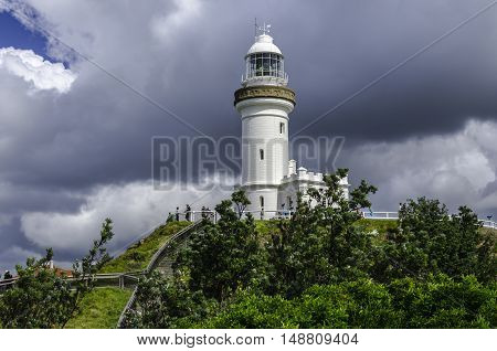 Byron Bay, Australia - AUGUST 08, 2014: The most easterly point of the australian mainland; the lighthouse of Cape Byron .
