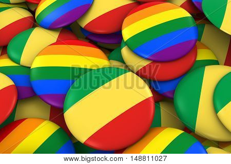 Congo Gay Rights Concept - Congolese Flag And Gay Pride Badges 3D Illustration