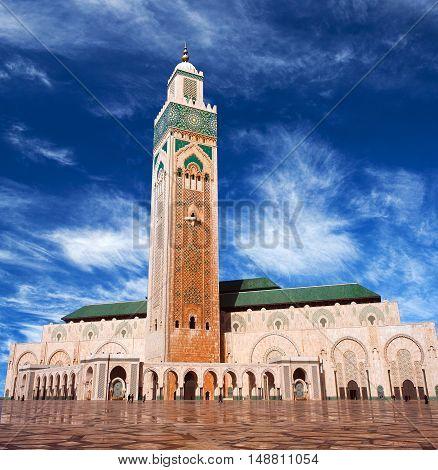 Famous Hassan Ii Mosque In Casablanca, Morocco