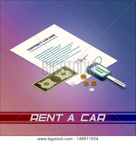 Rent a car money rental automobile ignition key cash contract signature bill hire