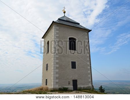 In 1632 was built on top of Holy hill near the town of Mikulov building freestanding bell tower - campanile 6.8.2016 South Moravia Czech Republic