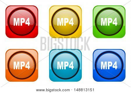 mp4 colorful web icons