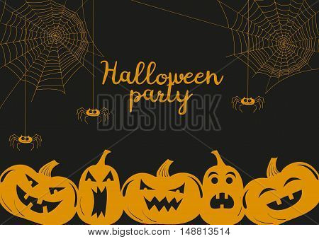 Halloween poster illustration with cartoon pumpkins and spiders. Halloween party card vector background