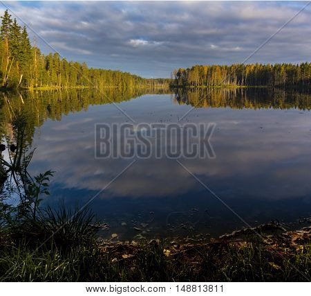 Autumn on a small forest lake in Karelia, Leningrad, Russia