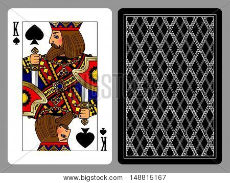 King of Spades playing card and the backside background. Colorful original design