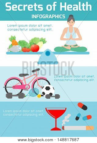 secrets of health ,health tips for you,yoga,exercise, healthy foods, meditating, banner header, healthcare concept, elements infographic, vector flat modern icons design vector illustration.