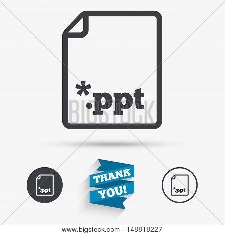 File presentation icon. Download PPT button. PPT file extension symbol. Flat icons. Buttons with icons. Thank you ribbon. Vector