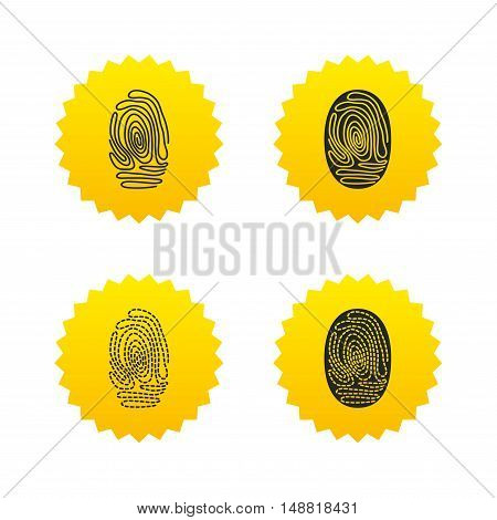 Fingerprint icons. Identification or authentication symbols. Biometric human dabs signs. Yellow stars labels with flat icons. Vector